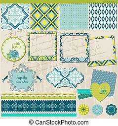 Scrapbook Design Elements - Vintage Tile with frames - in vector