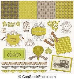 Scrapbook Design Elements - Vintage Time Set - in vector