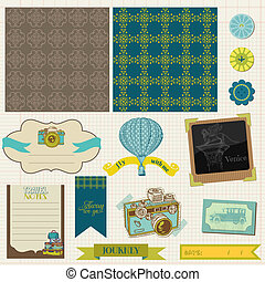 Scrapbook Design Elements - Vintage Travel Set- in vector