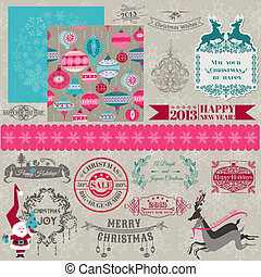 Scrapbook Design Elements - Vintage Merry Christmas and New...