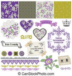 Scrapbook Design Elements - Vintage Violet Roses  - in vector