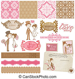 Scrapbook Design Elements - Vintage Wedding Set - for your design, invitation, congratulation