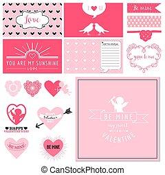 Scrapbook Design Set - Valentine's Day Hearts - in vector