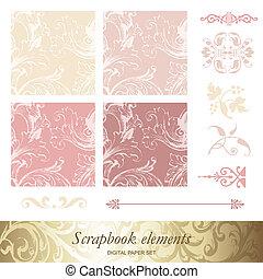 scrapbook, elementos, desenho