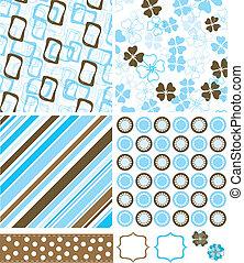 scrapbook, elementos, e, padrões, para, desenho, vetorial