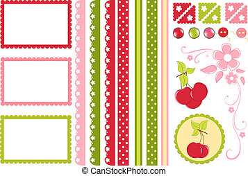 Scrapbook elements. Collection of cherry decors