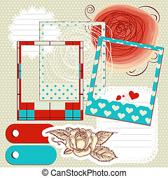 Scrapbook elements, paper scribbles and photo frames
