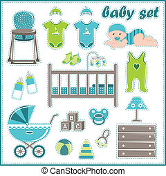 Scrapbook elements with baby boy th - Vector illustration....