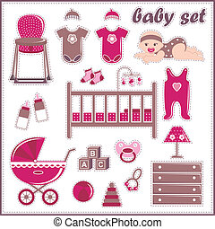 Scrapbook elements with baby girl t - Vector illustration....