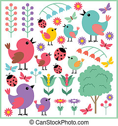Scrapbook elements with birds and i - Vector illustration. ...