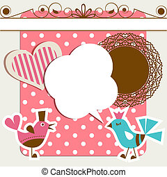 Scrapbook elements with birds and speech bubble