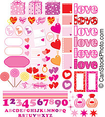Scrapbook elements with love charac - Vector illustration. ...