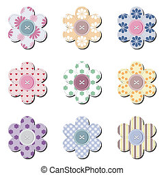 scrapbook flowers on white background vector illustration