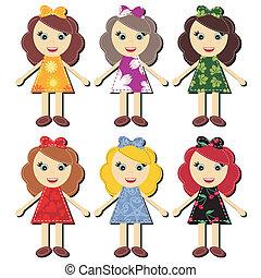 scrapbook girls in different dresses vector