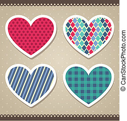 scrapbook hearts over beige background. vector illustration