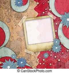 scrapbook layout in blue, magenta and brown colors with photo frame and flowers