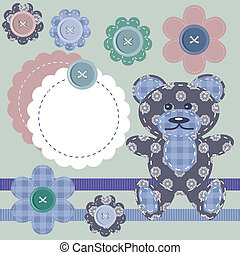 scrapbook objects and teddy bear