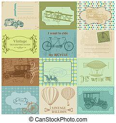 Scrapbook Paper Tags and Design Elements - Vintage Transportation in vector