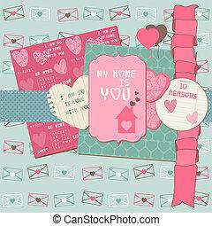 scrapbook, projete elementos, -, amor, jogo, -, para, cartões, convite, saudações, em, vetorial