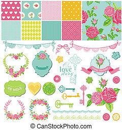 scrapbook, projete elementos, -, floral, roto, chique, tema,...