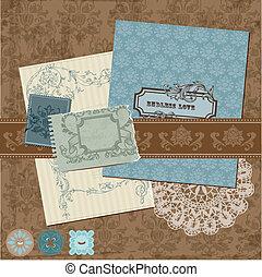 scrapbook, projete elementos, -, vindima, flores, e, bordas,...
