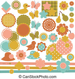 scrapbook set of objects on white