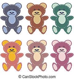 scrapbook teddy bears on white background vector