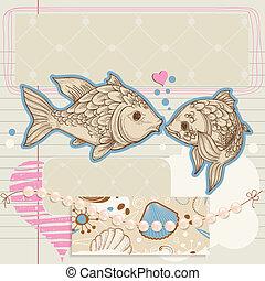 scrapbook, tema, elementos, amor, mar