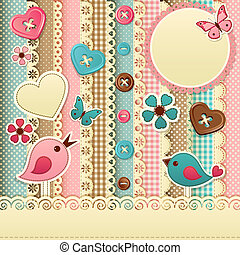 Scrapbook template - Vector illustration - vintage scrapbook...