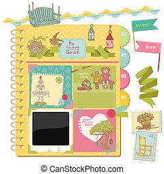 scrapbook, tervezés elem, -, nyár, kert, doodles, -, alatt,...