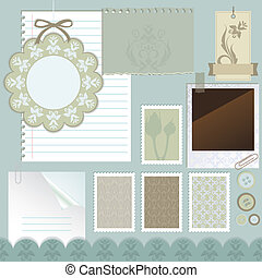 scrapbook, vetorial, illustra, elements.