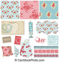 Scrapbook Vintage Wedding Collection - design elements for invitation, decoration in vector