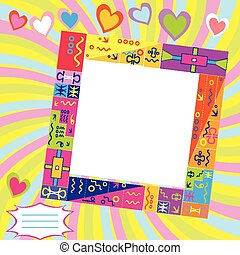Scrapbook with frame for photo and place for text