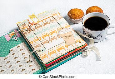 scrapbooking, álbum, taza de café