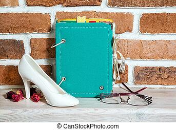scrapbooking, álbum, zapato, hecho, de, cerámica