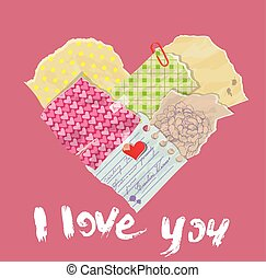 scrapbooking, 심장, 은 이다, 만든, 의, 포도 수확, 늙은, 종이, 산산조각, 와...,...