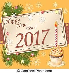 scrapbooking, año, nuevo,  2017, tarjeta, feliz