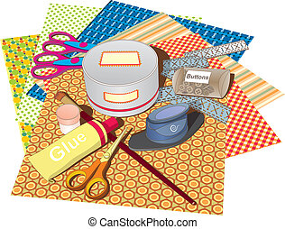 Scrapbooking - A set of papers and tools for scrapbooking ...
