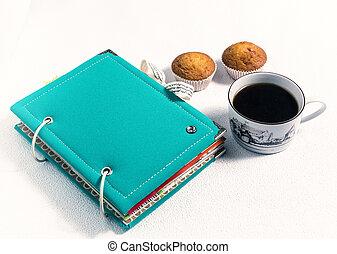 scrapbooking, album, coffee