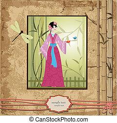 scrapbooking., asiatisches mädchen, mit, weinlese, muster, für, dein, design