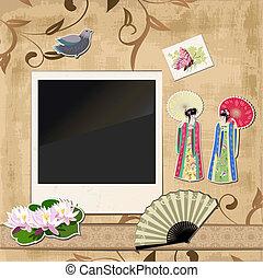 scrapbooking., aziatisch meisje, met, ouderwetse , motieven, voor, jouw, ontwerp