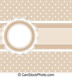 Scrapbooking card with lace and ribbon on polka dot fabric