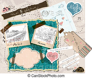 scrapbooking, conjunto, con, sellos, y, foto, frames.
