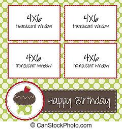 scrapbooking, cupcake, pékség, születésnap, sablon, vagy