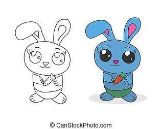 scrapbooking, dessin animé, broderie, coloration, mignon, bunny., books., ensemble, enfants