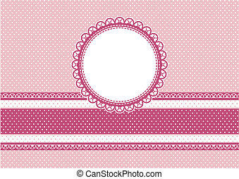 cute scrapbooking vector background with circular frame on polka dots