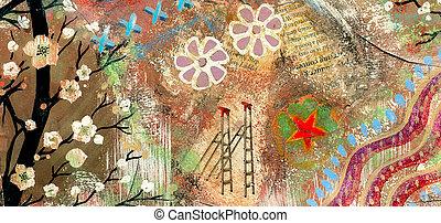 Retro abstraction grunge art vintage paper background