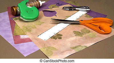 Scrapbooking - Materials for scrapbooking on table