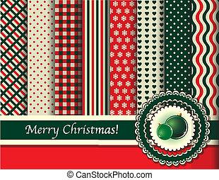 scrapbooking, ouderwetse , kleur, groene, kerstmis, rood