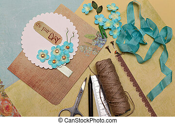 scrapbooking - hand made scrapbooking post card and tools...